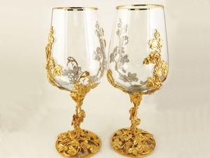 Подарочная винная пара  «Виноград» . Златоуст z10290. Ярмарка Мастеров - ручная работа, handmade.