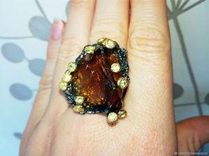 Скидка 20% на кольцо  «Виски со льдом»  с кристаллом коньячного кварца. Ярмарка Мастеров - ручная работа, handmade.