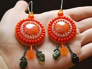 """МК серьги из бисера """"Оранжевое настроение"""". Ярмарка Мастеров - ручная работа, handmade."""