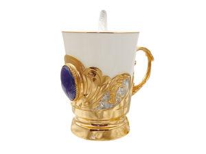 Кофейная чашка в подарок  «Лазурит» . Златоуст z281. Ярмарка Мастеров - ручная работа, handmade.