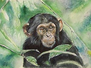 Мастер-класс: рисуем акварельную обезьянку. Ярмарка Мастеров - ручная работа, handmade.