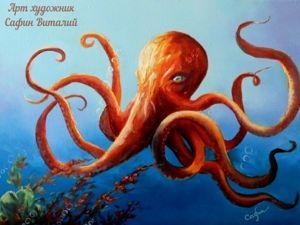 Знакомьтесь картина осьминог Кулёма. Ярмарка Мастеров - ручная работа, handmade.