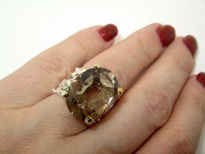 Кольцо с раухтопазом серебряное. Ярмарка Мастеров - ручная работа, handmade.