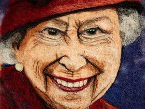 """Портрет из шерсти """"Королева Елизавета II"""": мастер-класс по сухому валянию картины иглой. Ярмарка Мастеров - ручная работа, handmade."""