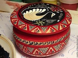 Росписная шкатулка Лебедь в стиле Мезенской росписи. Ярмарка Мастеров - ручная работа, handmade.