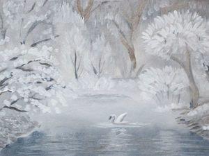 Пишем маслом миниатюру «Зимняя сказка». Ярмарка Мастеров - ручная работа, handmade.