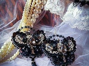 """Мастер-класс: вышитые бисером, канителью и пайетками серьги-бабочки """"Luna"""". Часть 1. Ярмарка Мастеров - ручная работа, handmade."""