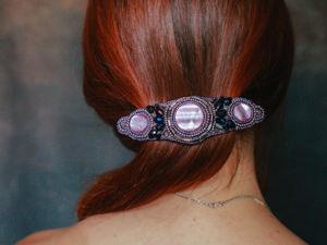 Фиолетовый тюльпан. Заколка для волос. Ярмарка Мастеров - ручная работа, handmade.