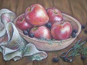 Рисуем натюрморт с яблоками сухой пастелью. Ярмарка Мастеров - ручная работа, handmade.