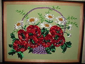 Вышиваем корзинку атласными лентами.. Ярмарка Мастеров - ручная работа, handmade.
