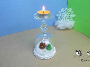 Как сделать новогодний подсвечник из бокала. Ярмарка Мастеров - ручная работа, handmade.