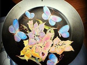 Роспись тарелки «Голубые бабочки». Ярмарка Мастеров - ручная работа, handmade.