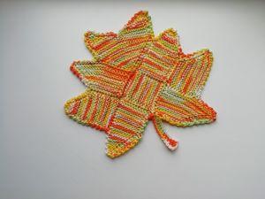 Вяжем подставку под горячее «кленовый лист». Ярмарка Мастеров - ручная работа, handmade.
