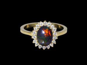 Серебряное кольцо с опалом, 18 размер. Ярмарка Мастеров - ручная работа, handmade.