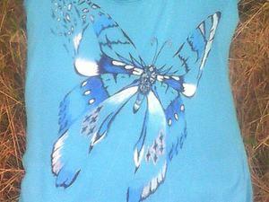 """Роспись футболки """"Парящая бабочка"""". Создаем летнее настроение!. Ярмарка Мастеров - ручная работа, handmade."""