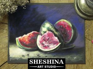 Видеоурок: рисуем сочный арбуз сухой пастелью. Ярмарка Мастеров - ручная работа, handmade.