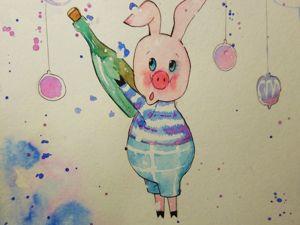 Рисуем новогоднего Пятачка. Ярмарка Мастеров - ручная работа, handmade.
