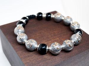 Создаем браслет шамбала из серебряных бусин с золотом. Ярмарка Мастеров - ручная работа, handmade.