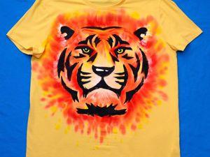 Мастерим подарок бате от трёх сыновей — футболка «ТЮГР». Ярмарка Мастеров - ручная работа, handmade.
