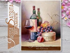 Картина маслом «Голландский натюрморт с бутылкой и бокалом вина». Ярмарка Мастеров - ручная работа, handmade.