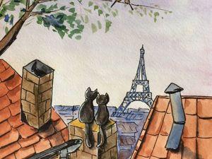 Акварельный рисунок «Романтичные котики». Ярмарка Мастеров - ручная работа, handmade.