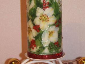 """Декорирование рождественской свечи в технике """"декупаж"""". Ярмарка Мастеров - ручная работа, handmade."""
