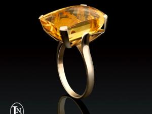 Золотое кольцо  «Цитрин в минималистичной оправе». Ярмарка Мастеров - ручная работа, handmade.