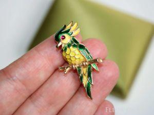 Trifari 1968 попугайчик. Ярмарка Мастеров - ручная работа, handmade.