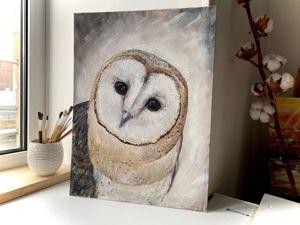 Картина маслом сова сипуха (видео). Ярмарка Мастеров - ручная работа, handmade.