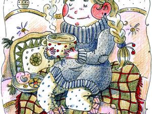 Открытка  «Чаепитие». Ярмарка Мастеров - ручная работа, handmade.