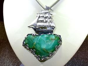 Новое украшение — крупный серебряный кулон с хризопразом  «Саргассово море». Ярмарка Мастеров - ручная работа, handmade.