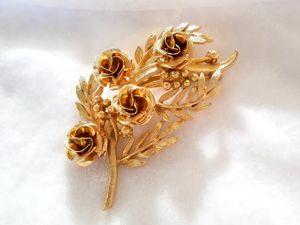 Видео. Брошь Букет с розами,Coro,США,50ые. Ярмарка Мастеров - ручная работа, handmade.