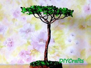 Мастерим дерево «Акация» из проволоки и каменной крошки. Ярмарка Мастеров - ручная работа, handmade.