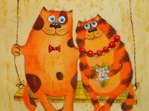 Влюблённые котики. Ярмарка Мастеров - ручная работа, handmade.