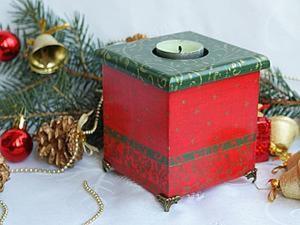 """Декор подсвечника """"Цвета Рождества"""". Ярмарка Мастеров - ручная работа, handmade."""