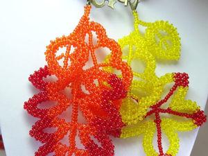 Плетем осенние листья в технике квадратного шнура. Ярмарка Мастеров - ручная работа, handmade.