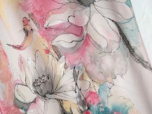 Новинка у меня в магазине — шифоновый шарф-палантин с ручной росписью!. Ярмарка Мастеров - ручная работа, handmade.