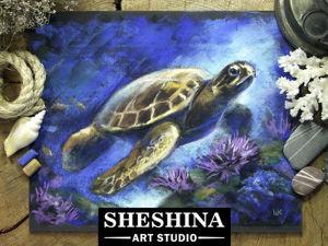 Видеоурок: рисуем морскую черепаху сухой пастелью. Ярмарка Мастеров - ручная работа, handmade.