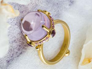Видео кольца с лавандовым лунным кварцем. Ярмарка Мастеров - ручная работа, handmade.