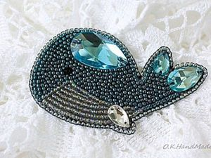 How to Make Blue Whale Brooch in the Bead Embroidery Technique. Livemaster - handmade