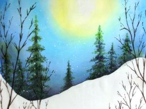 Учимся работать в технике горячий батик и свободная роспись. Зимний пейзаж. Ярмарка Мастеров - ручная работа, handmade.