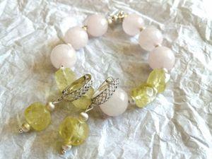Серьги и браслет в серебре с розовым и лимонным кварцем. Ярмарка Мастеров - ручная работа, handmade.