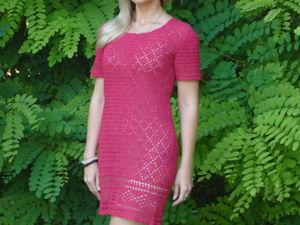 Платье из 100 % льна малинового цвета!!!. Ярмарка Мастеров - ручная работа, handmade.