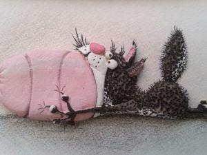 Лепим прикольный триптих «Кот и колбаса». Часть 2. Ярмарка Мастеров - ручная работа, handmade.