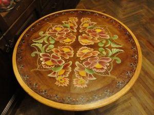 Новая жизнь старого стола: расписываем столешницу с использованием схемы старинной вышивки. Ярмарка Мастеров - ручная работа, handmade.
