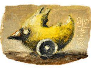 День 322. Миниатюра маслом  «Желтая поездка» . 23-я работа из серии 50 дней масла. Ярмарка Мастеров - ручная работа, handmade.