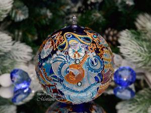 Стеклянный елочный шар  «Венецианский карнавал» . Видео. Ярмарка Мастеров - ручная работа, handmade.