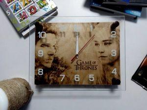 Часы выжженные на дереве «Игра престолов». Ярмарка Мастеров - ручная работа, handmade.