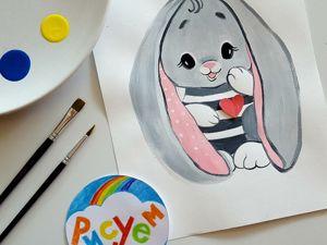 Рисуем зайку. Рисование для детей. Ярмарка Мастеров - ручная работа, handmade.
