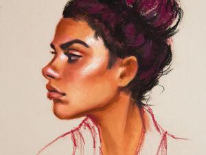 Процесс рисования портрета девушки сухой пастелью. Ярмарка Мастеров - ручная работа, handmade.